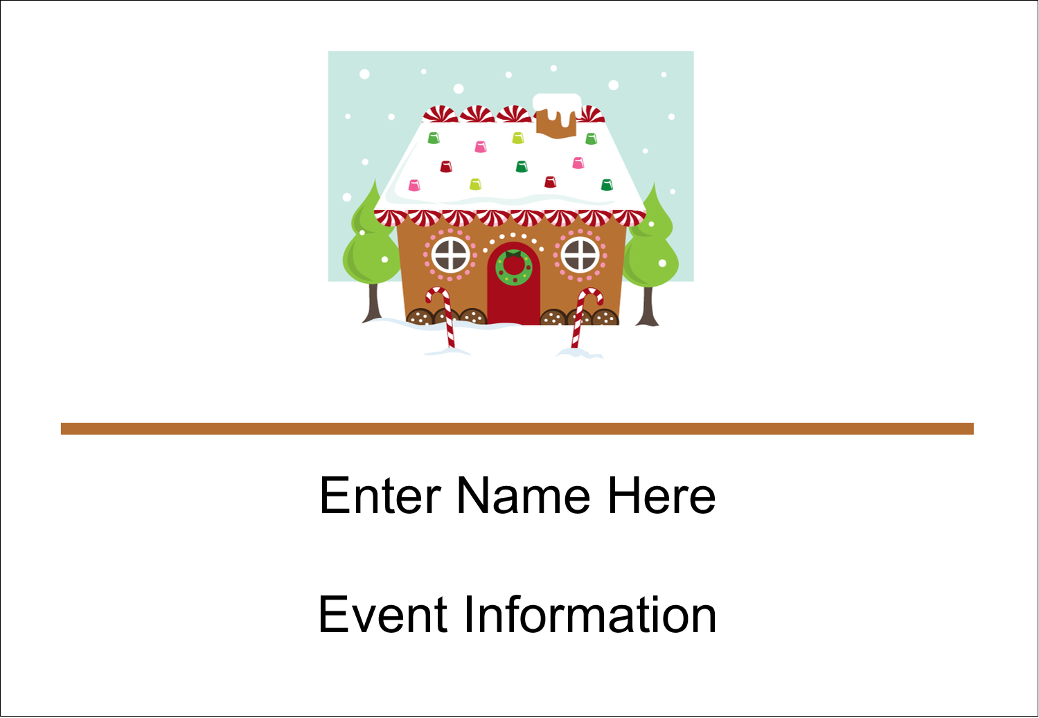 "3⅜"" x 2⅓"" Name Badge - Gingerbread House"