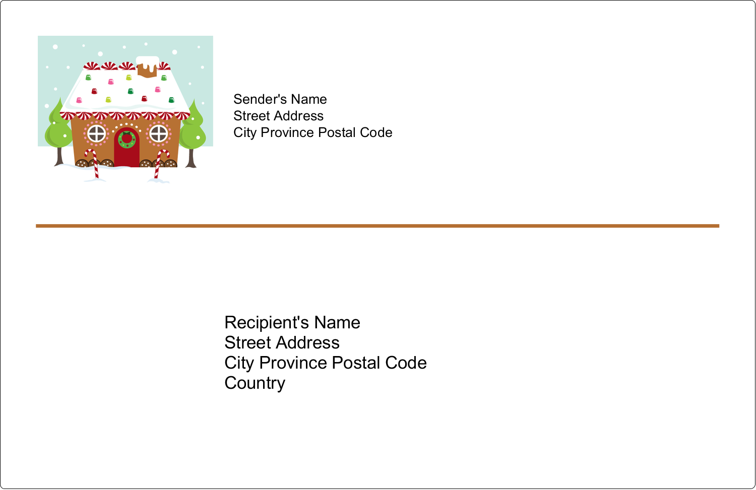 "5½"" x 8½"" Shipping Label - Gingerbread House"