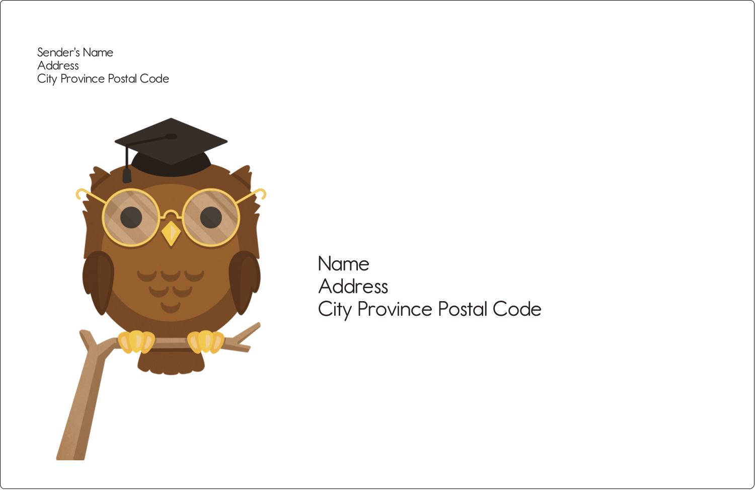 "5½"" x 8½"" Shipping Label - Academic Owl Graduation"