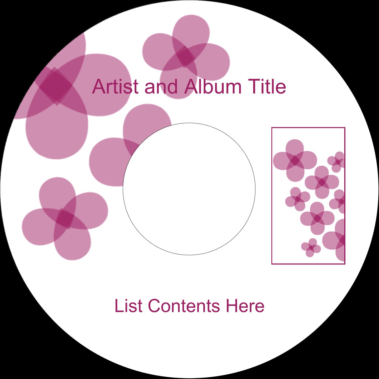 "4.65"" CD-DVD Label - Purple Blossoms"