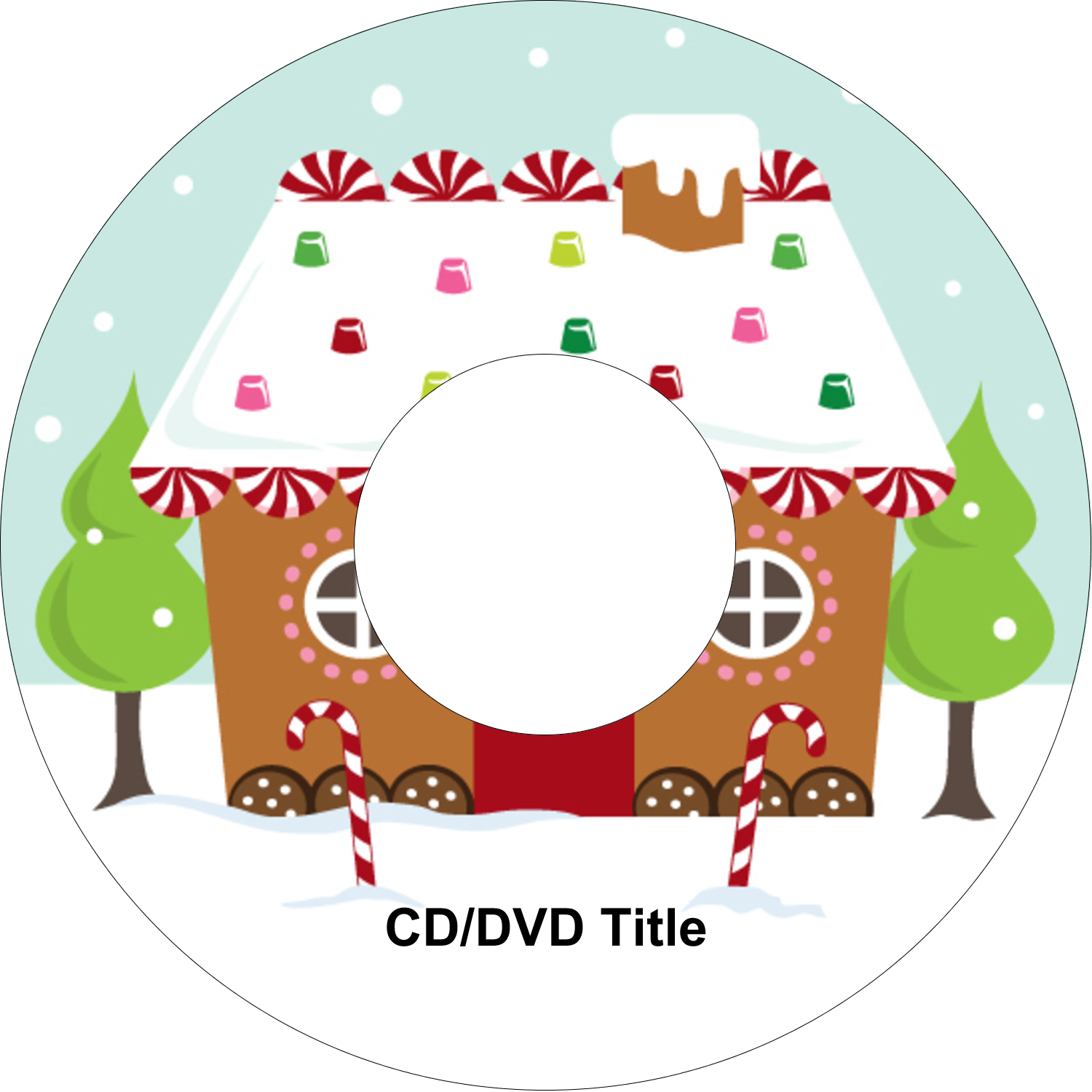 "4.65"" CD-DVD Label - Gingerbread House"