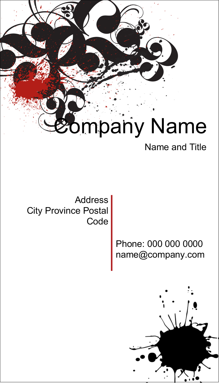 """2"""" x 3½"""" Business Card - Dramatic Curlicues"""