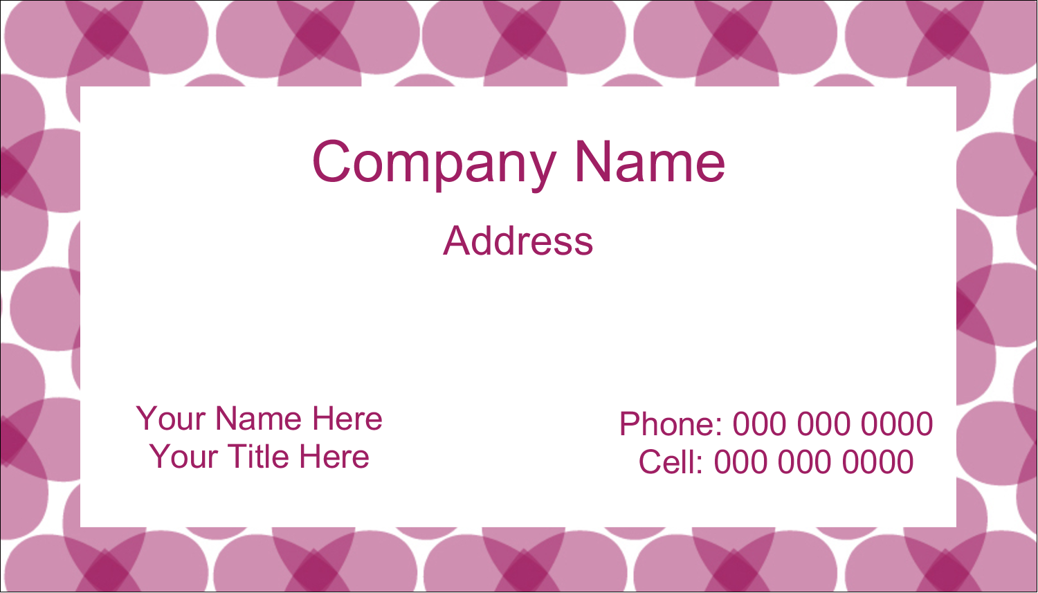 "2"" x 3½"" Business Card - Purple Blossoms"