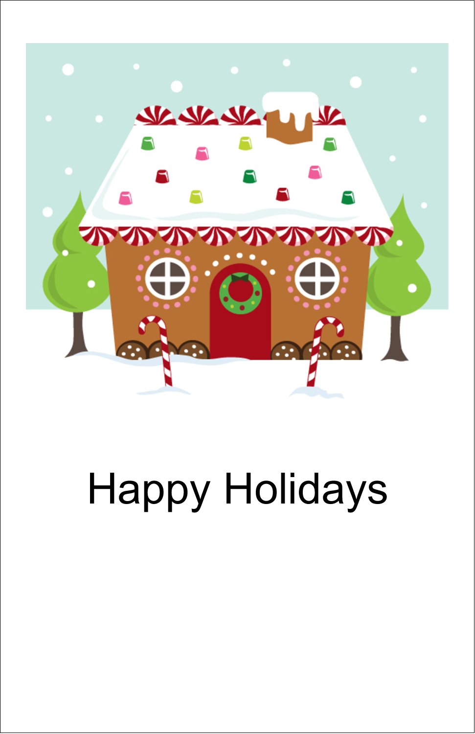 "5"" x 8½"" Half Fold Card - Gingerbread House"