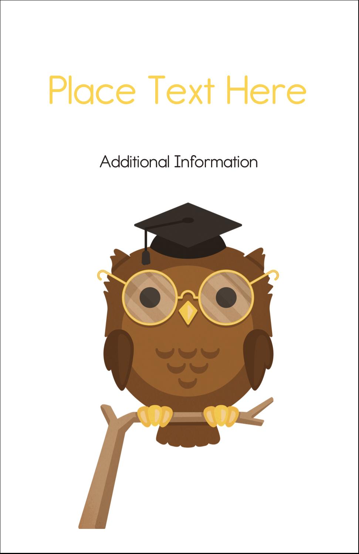 "5"" x 8½"" Half Fold Card - Academic Owl Graduation"