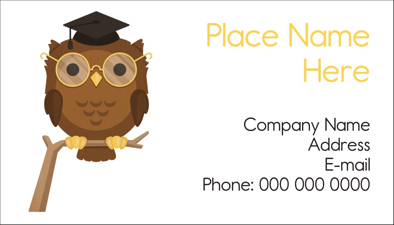 "2"" x 3½"" Business Card - Academic Owl Graduation"