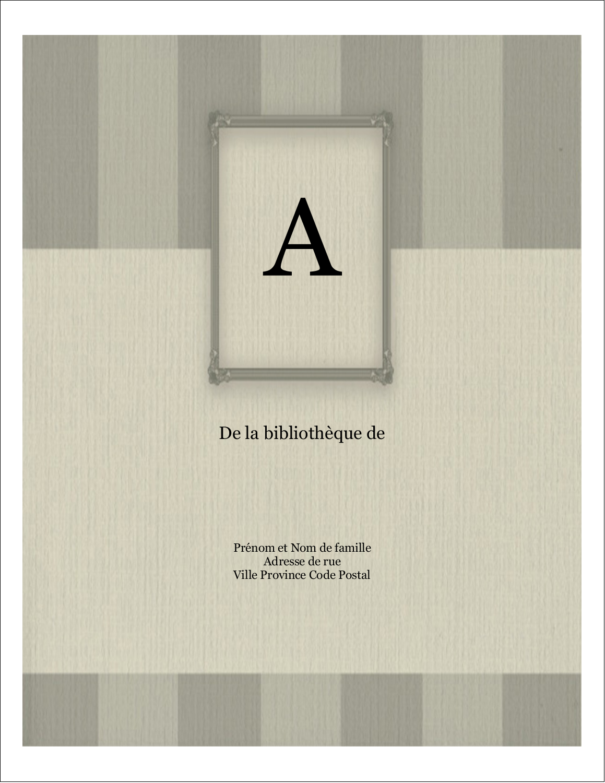 """11"""" x 8½"""" Étiquettes d'expéditions - Initiale ex-libris"""