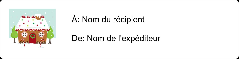 """1⅓"""" x 4"""" Étiquettes d'adresse - Maison en pain d'épices"""