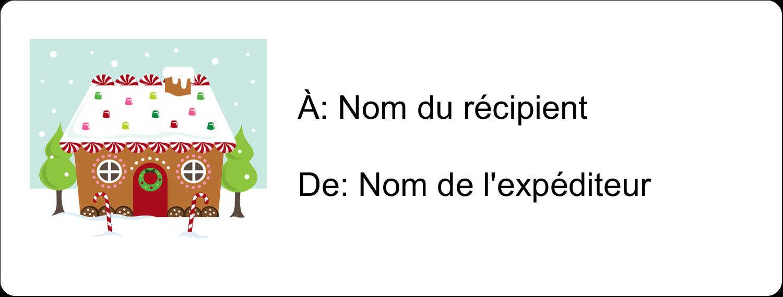 """1"""" x 4"""" Étiquettes d'adresse - Maison en pain d'épices"""