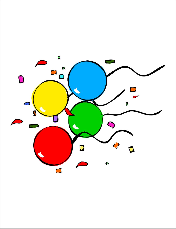"""8½"""" x 11"""" Cartes Et Articles D'Artisanat Imprimables - Quatre ballons"""