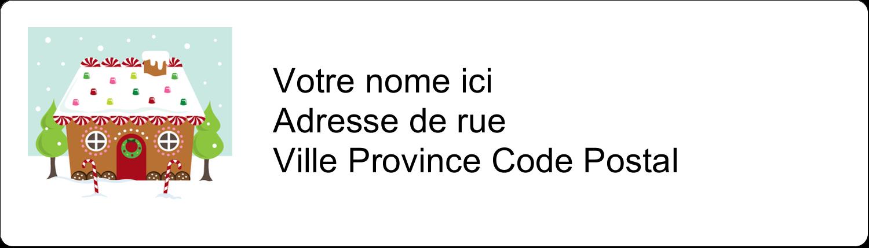 """1"""" x 2⅝"""" Étiquettes D'Adresse - Maison en pain d'épices"""
