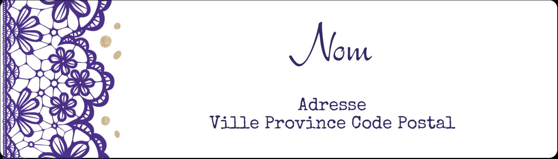 """1"""" x 2⅝"""" Étiquettes d'adresse - Mariage en dentelle violette"""