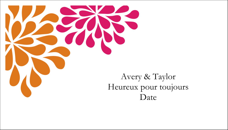 """2"""" x 3½"""" Carte d'affaire - Fête prénuptiale en rose et orange"""