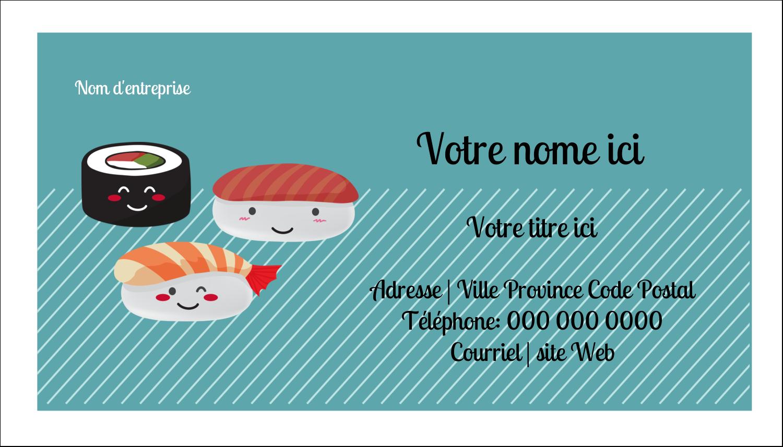 """2"""" x 3½"""" Carte d'affaire - Émoticônes de sushis"""