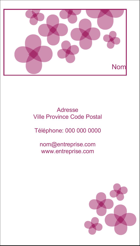 """2"""" x 3½"""" Carte d'affaire - Fleurs violettes"""