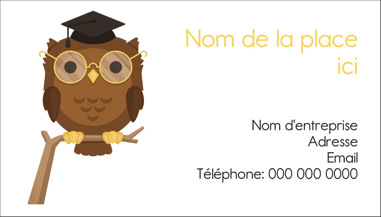"""2"""" x 3½"""" Carte d'affaire - Hibou et diplôme"""