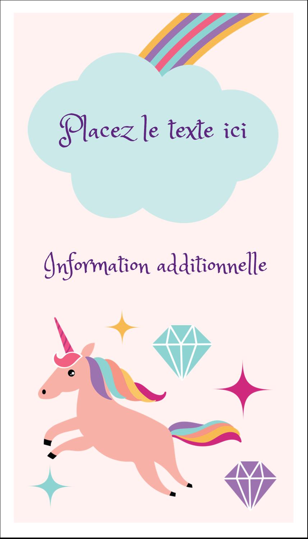 """2"""" x 3½"""" Carte d'affaire - Licorne en fête"""