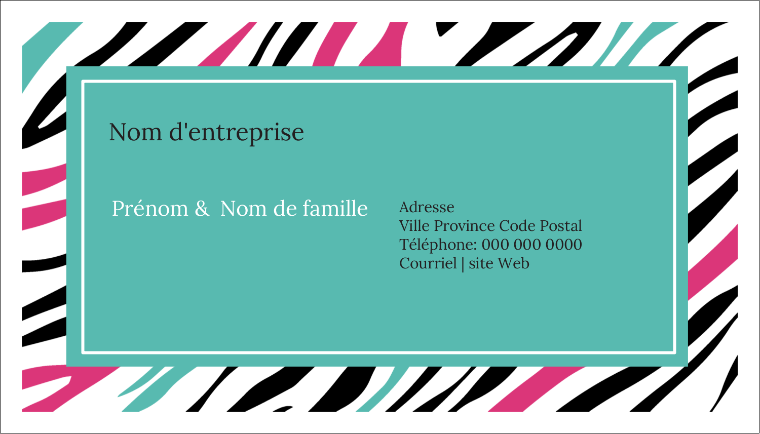 "2"" x 3½"" Carte d'affaire - Empreintes d'animaux"