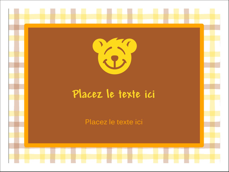 """3"""" x 4"""" Étiquettes badges autocollants - Ours jaune"""