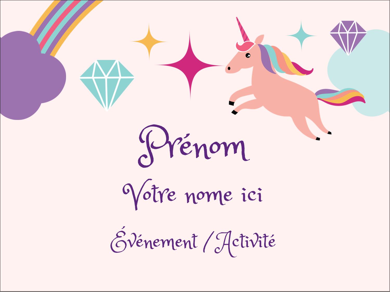 """3"""" x 4"""" Badges - Licorne en fête"""