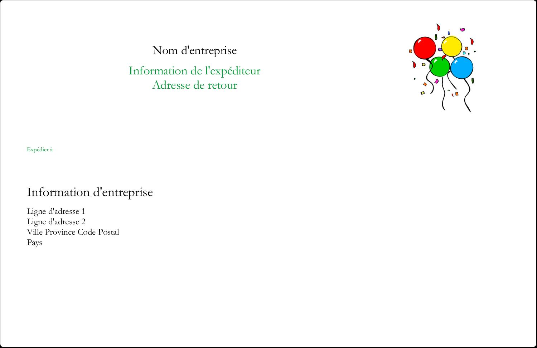 """8½"""" x 5½"""" Étiquettes d'expédition - Quatre ballons"""