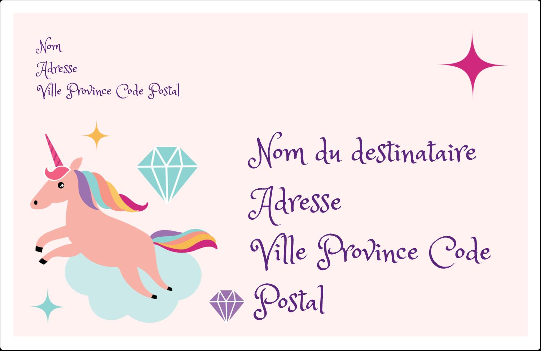 """1½"""" x 4"""" Étiquettes d'adresse - Licorne en fête"""