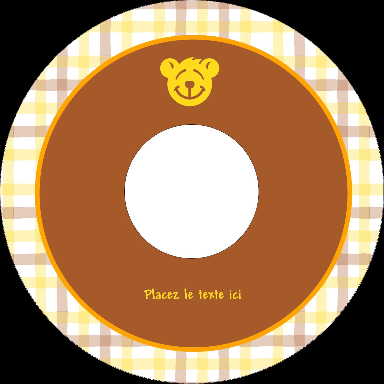 CD/DVD Étiquettes Pour Médias - Ours jaune