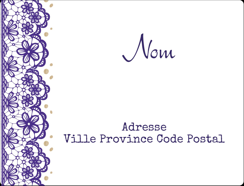 """8⅛"""" x 5"""" Étiquettes d'expéditions - Mariage en dentelle violette"""