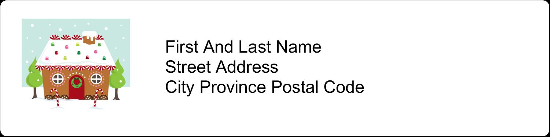 "1"" x 4"" Address Label - Gingerbread House"