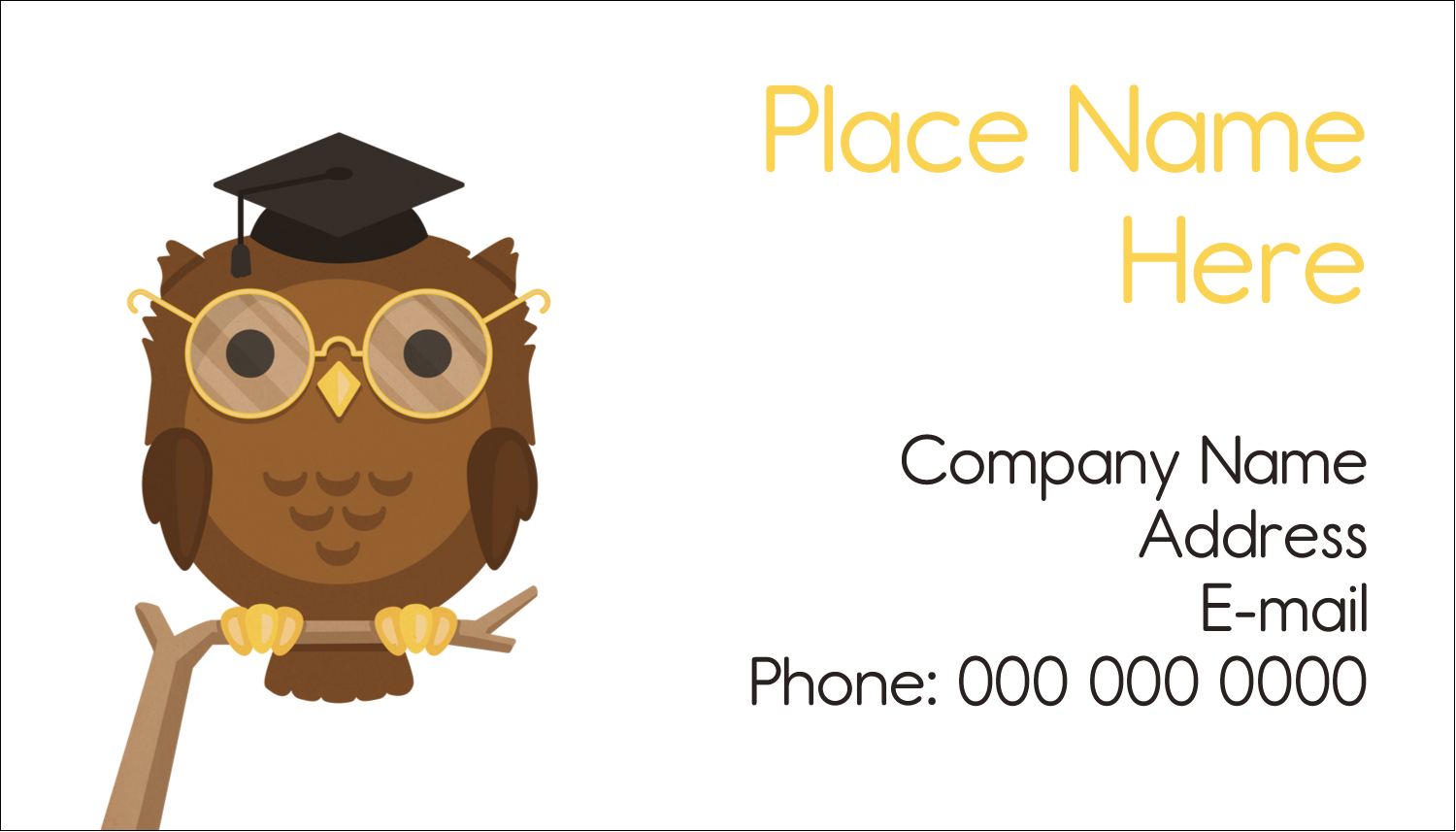 "2"" x 3½"" Business Card - Academic Owl Graduation"