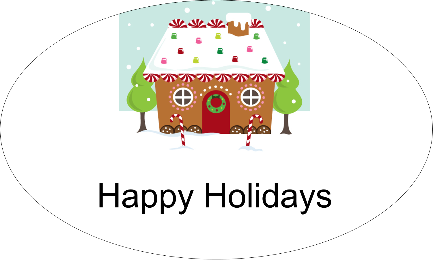 "1½"" x 2½"" Oval Glossy Label - Gingerbread House"