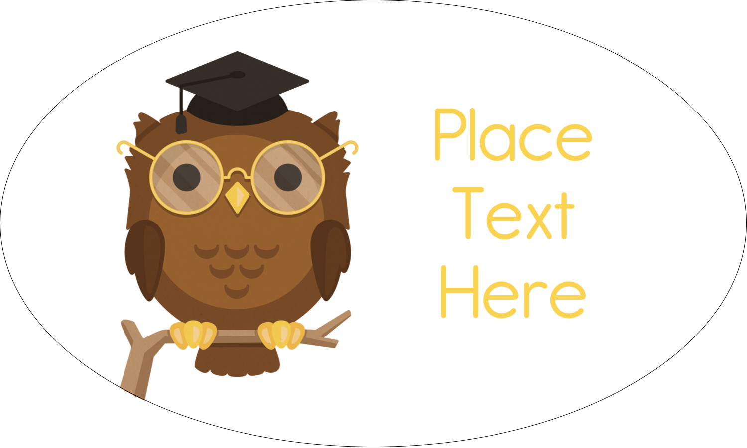 "1½"" x 2½"" Oval Glossy Label - Academic Owl Graduation"