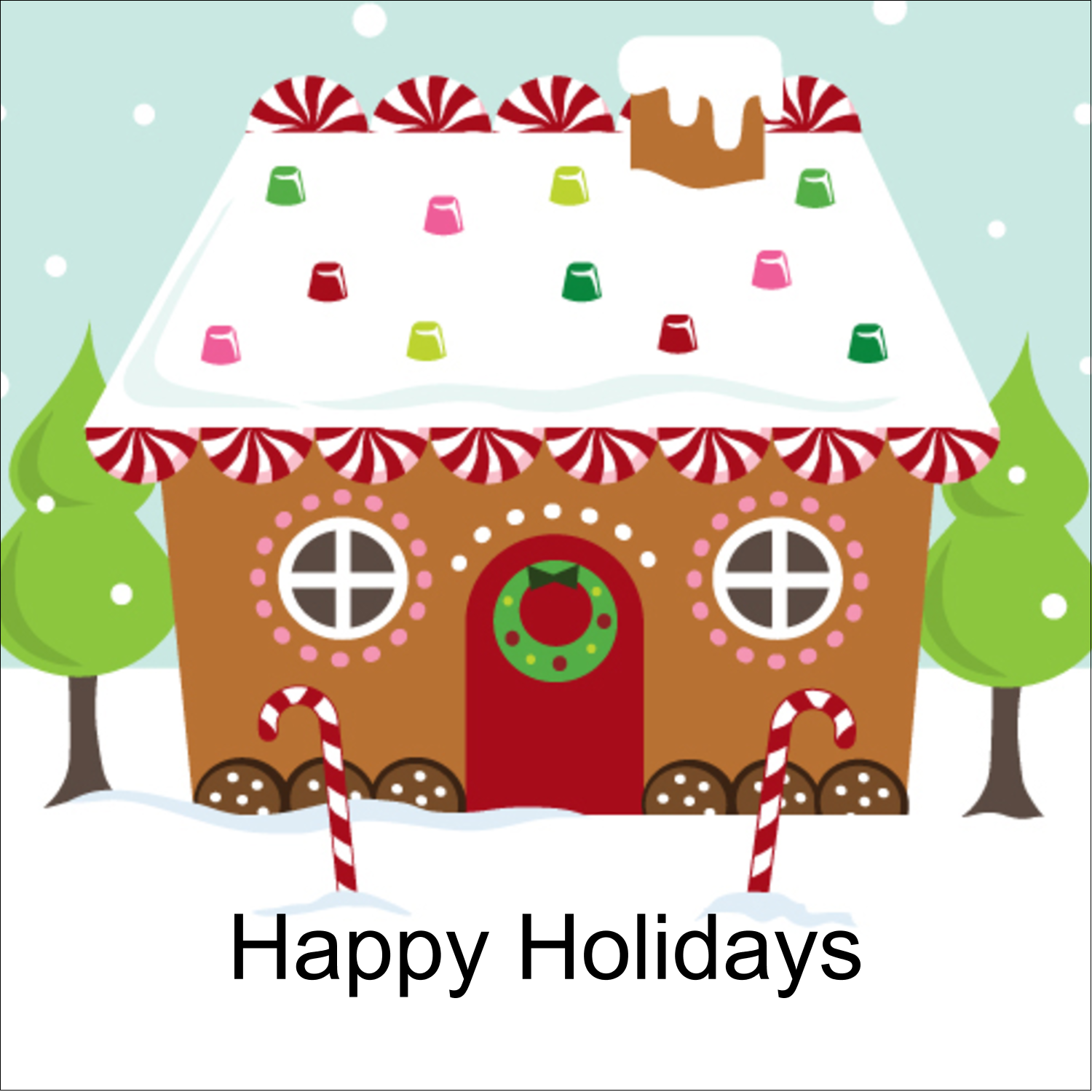 "1½"" x 1½"" Square Label - Gingerbread House"