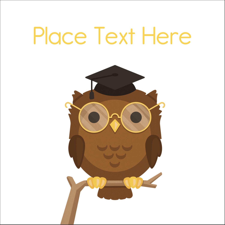 "1½"" x 1½"" Square Label - Academic Owl Graduation"