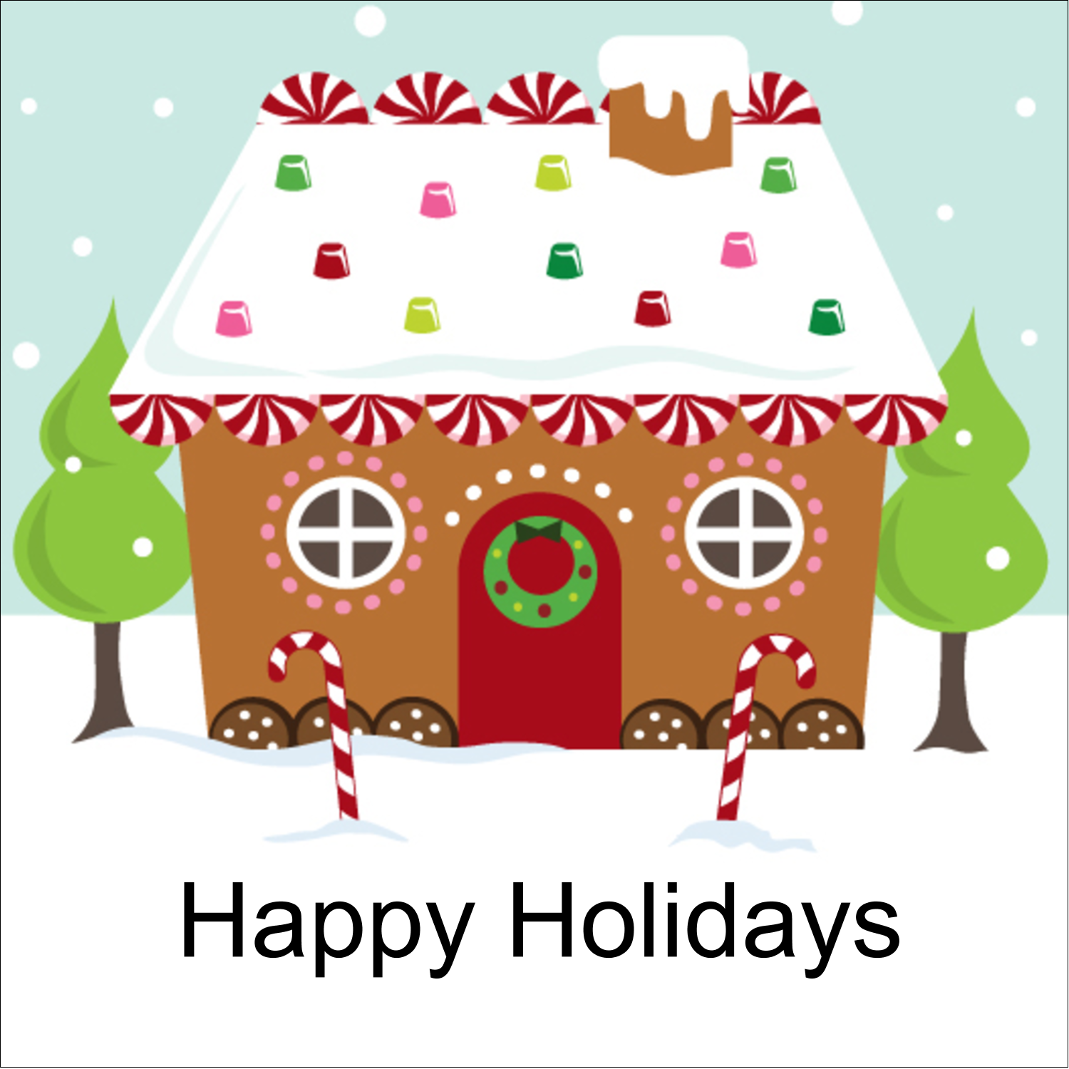 "2"" x 2"" Square Label - Gingerbread House"