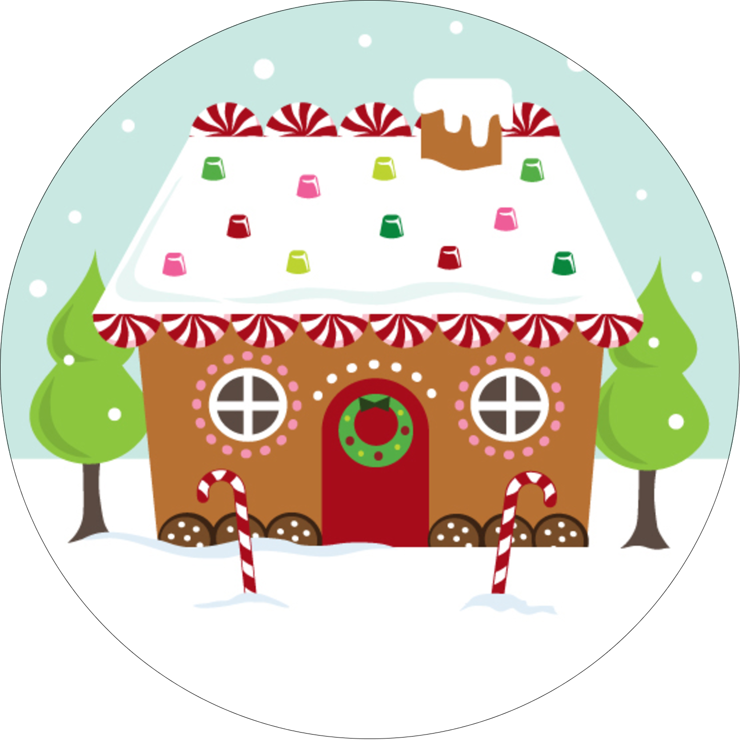 "2"" Round Label - Gingerbread House"