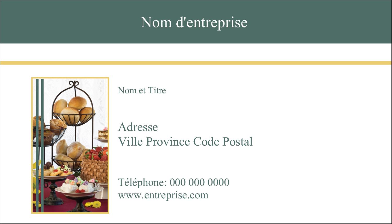 """2"""" x 3½"""" Carte d'affaire - Pain et dessert"""