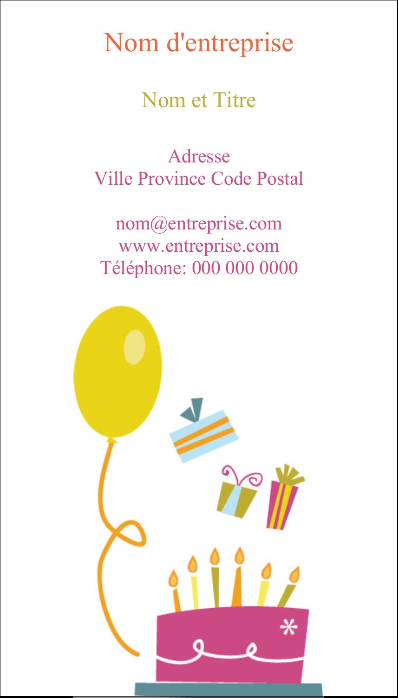 """2"""" x 3½"""" Carte d'affaire - Fête d'anniversaire"""