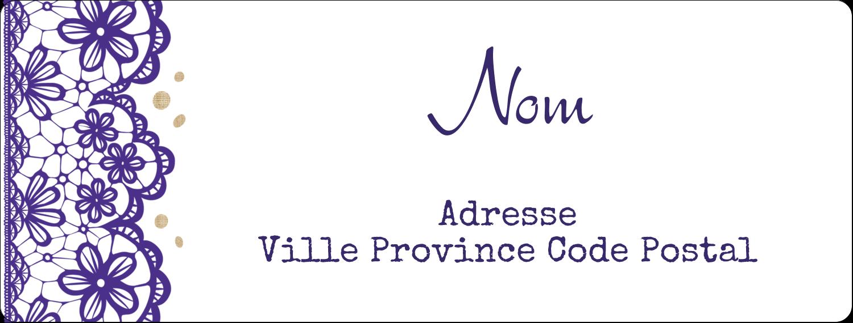 """4"""" x 1⅓"""" Étiquettes D'Adresse - Mariage en dentelle violette"""