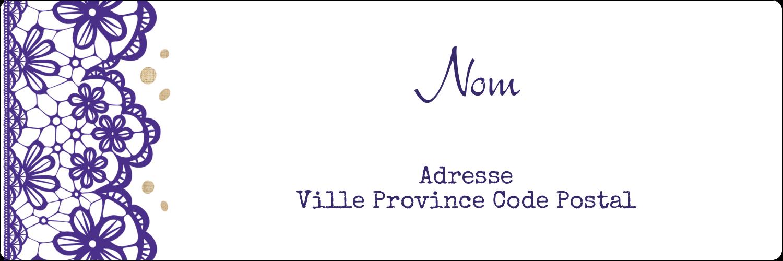 """4"""" x 2"""" Étiquettes d'expéditions - Mariage en dentelle violette"""