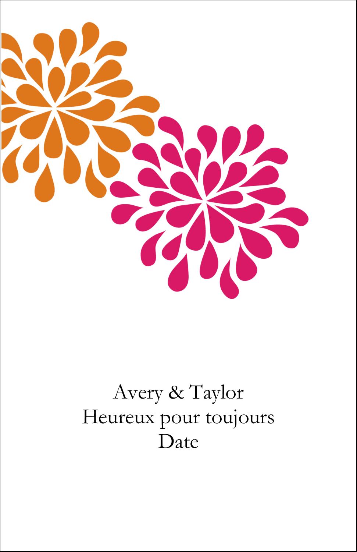 """8½"""" x 11"""" Binder Insert Reliures - Fête prénuptiale en rose et orange"""