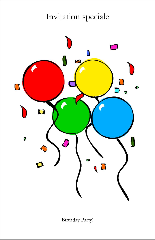 """8½"""" x 5"""" Cartes Et Articles D'Artisanat Imprimables - Quatre ballons"""