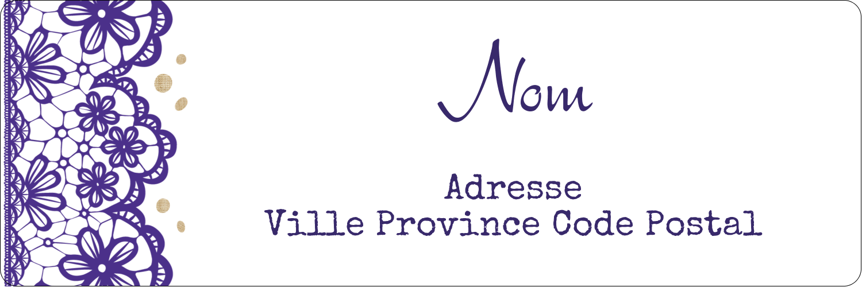 Mariage en dentelle violette Étiquettes Polyvalentes - gabarit prédéfini. <br/>Utilisez notre logiciel Avery Design & Print Online pour personnaliser facilement la conception.