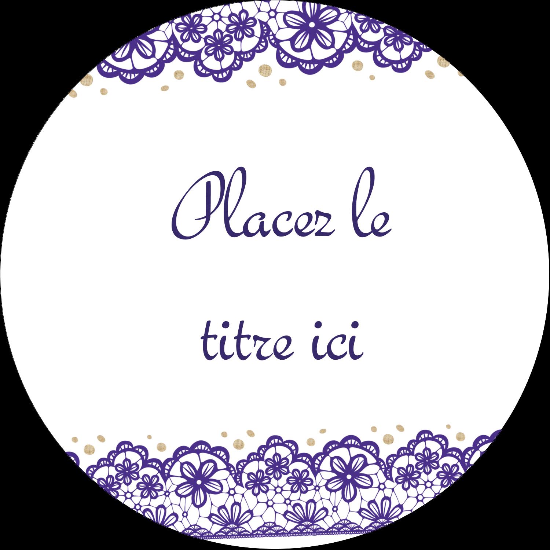 """¾"""" Étiquettes à codage couleur - Mariage en dentelle violette"""