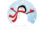 Frosty le bonhomme de neige Étiquettes Voyantes - gabarit prédéfini. <br/>Utilisez notre logiciel Avery Design & Print Online pour personnaliser facilement la conception.