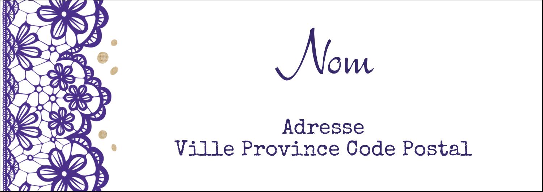 """4¼"""" x 2"""" Étiquettes Pour Copieurs - Mariage en dentelle violette"""