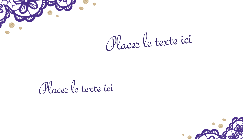 """2"""" x 3½"""" Carte d'affaire - Mariage en dentelle violette"""