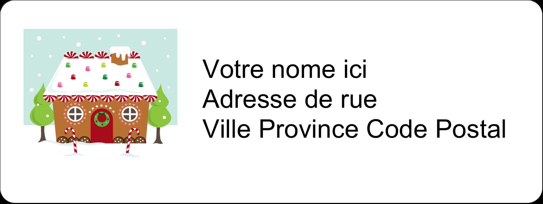 """1½"""" x 4"""" Étiquettes D'Adresse - Maison en pain d'épices"""