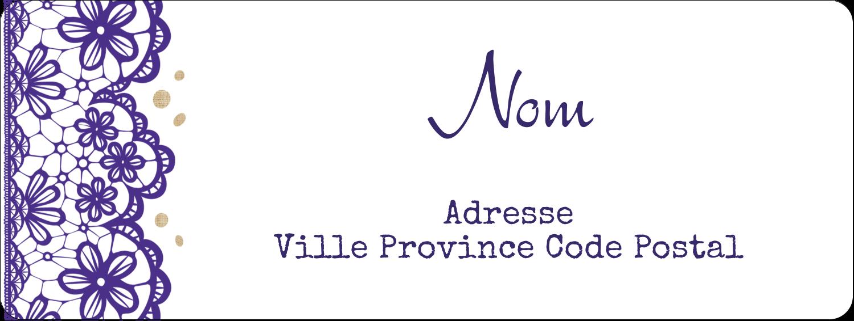 """1½"""" x 4"""" Étiquettes D'Adresse - Mariage en dentelle violette"""