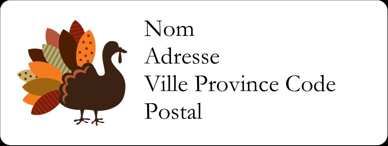 """1½"""" x 4"""" Étiquettes D'Adresse - Feuilles et dinde"""